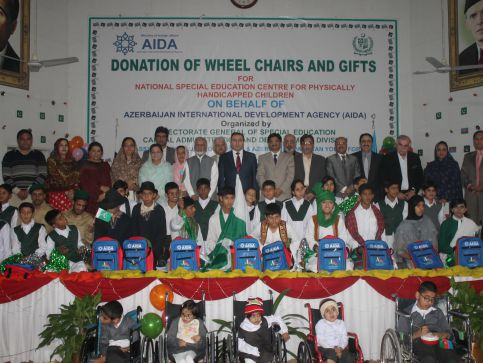AIDA donates wheelchairs, gifts for special children of Al-Farabi Centre